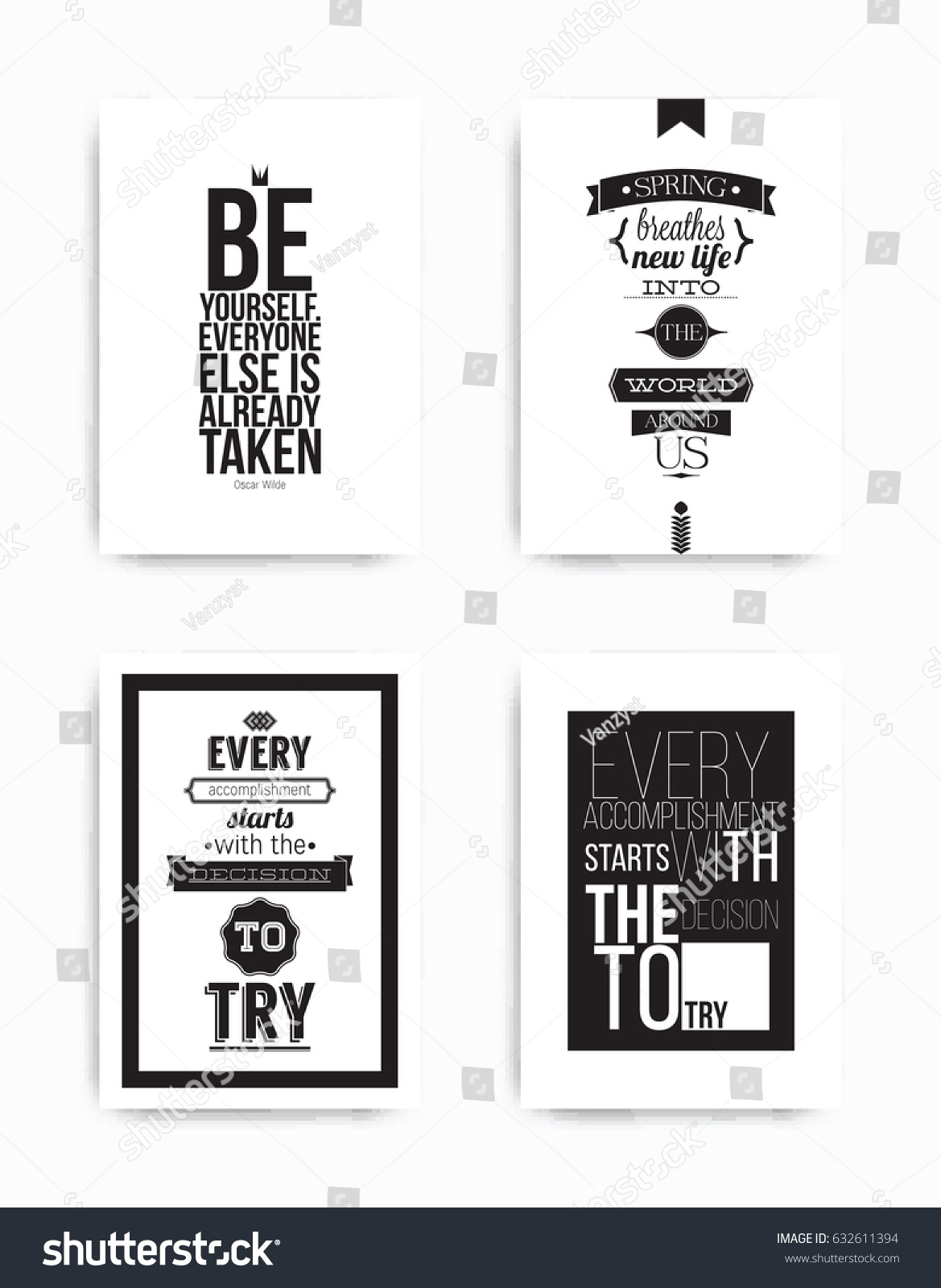 Set Four Motivational Posters Popular Quotes Stock Vector Royalty