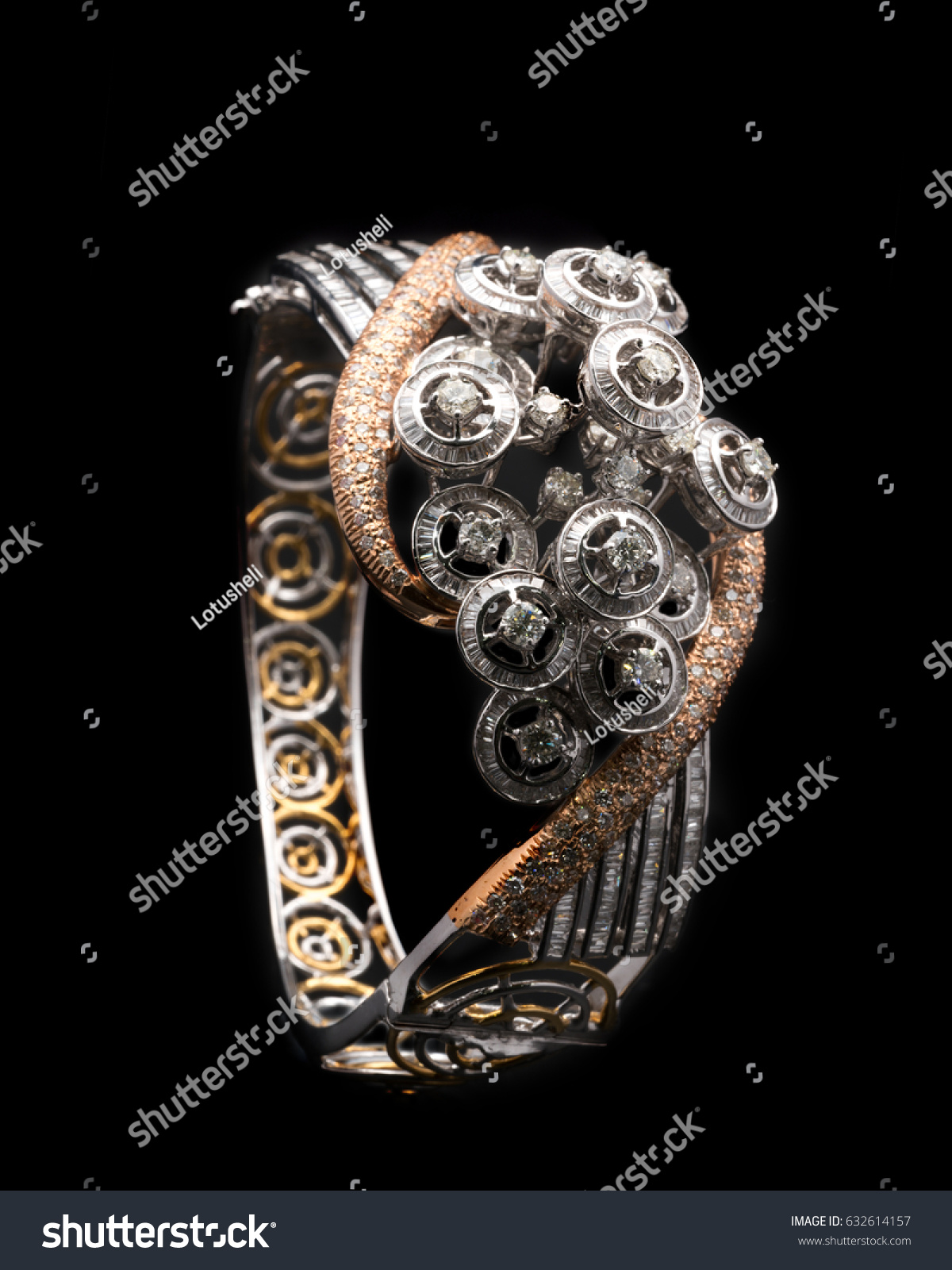 Diamond Bracelet Jewelry White Rose Gold Stock Photo Royalty Free