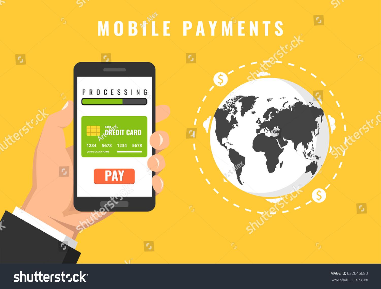 Hand Holding Smartphones Mobile Banking App Stock Vector