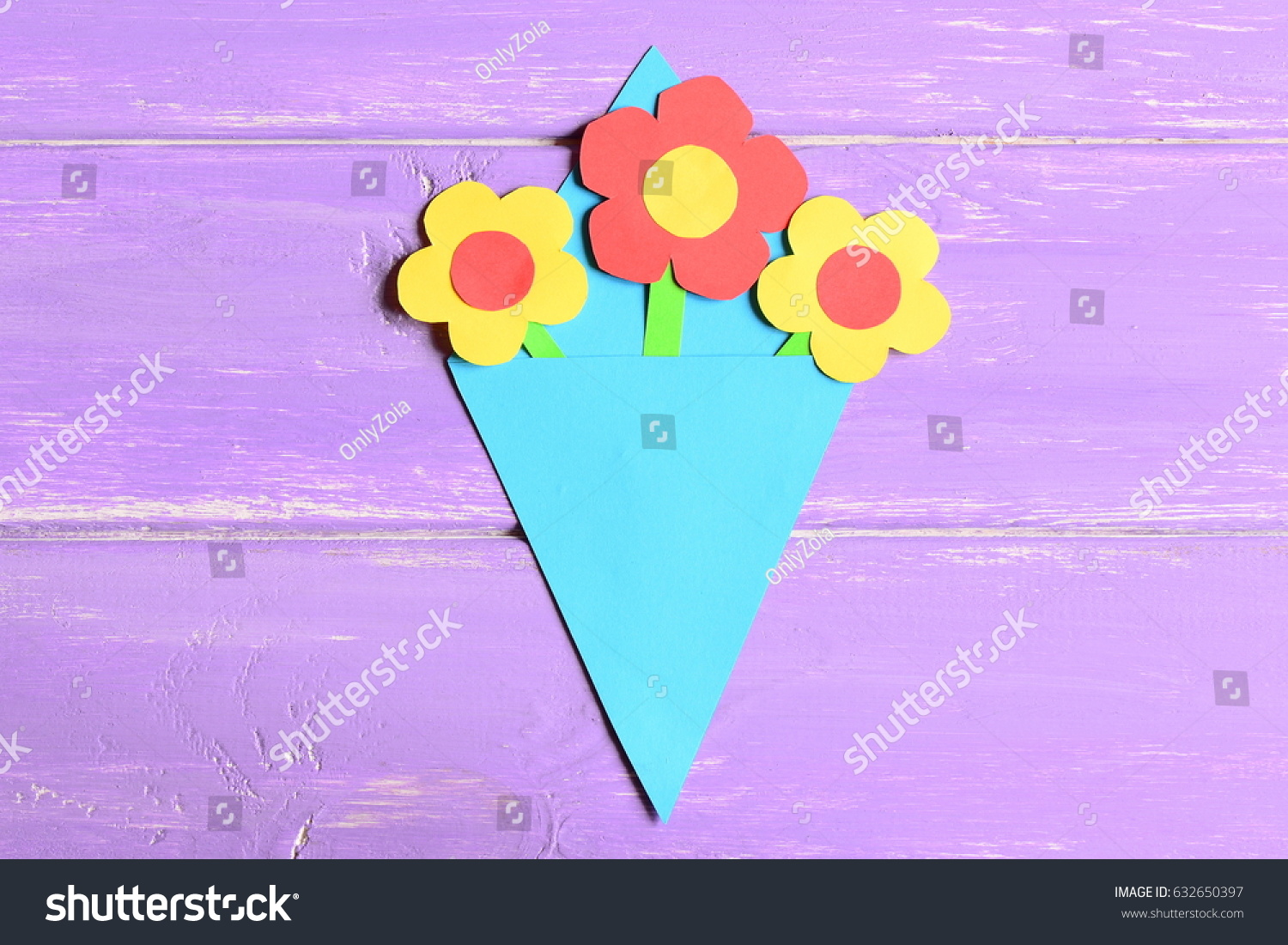 Making Paper Flowers Crafts Mothers Day Stock Photo Edit Now