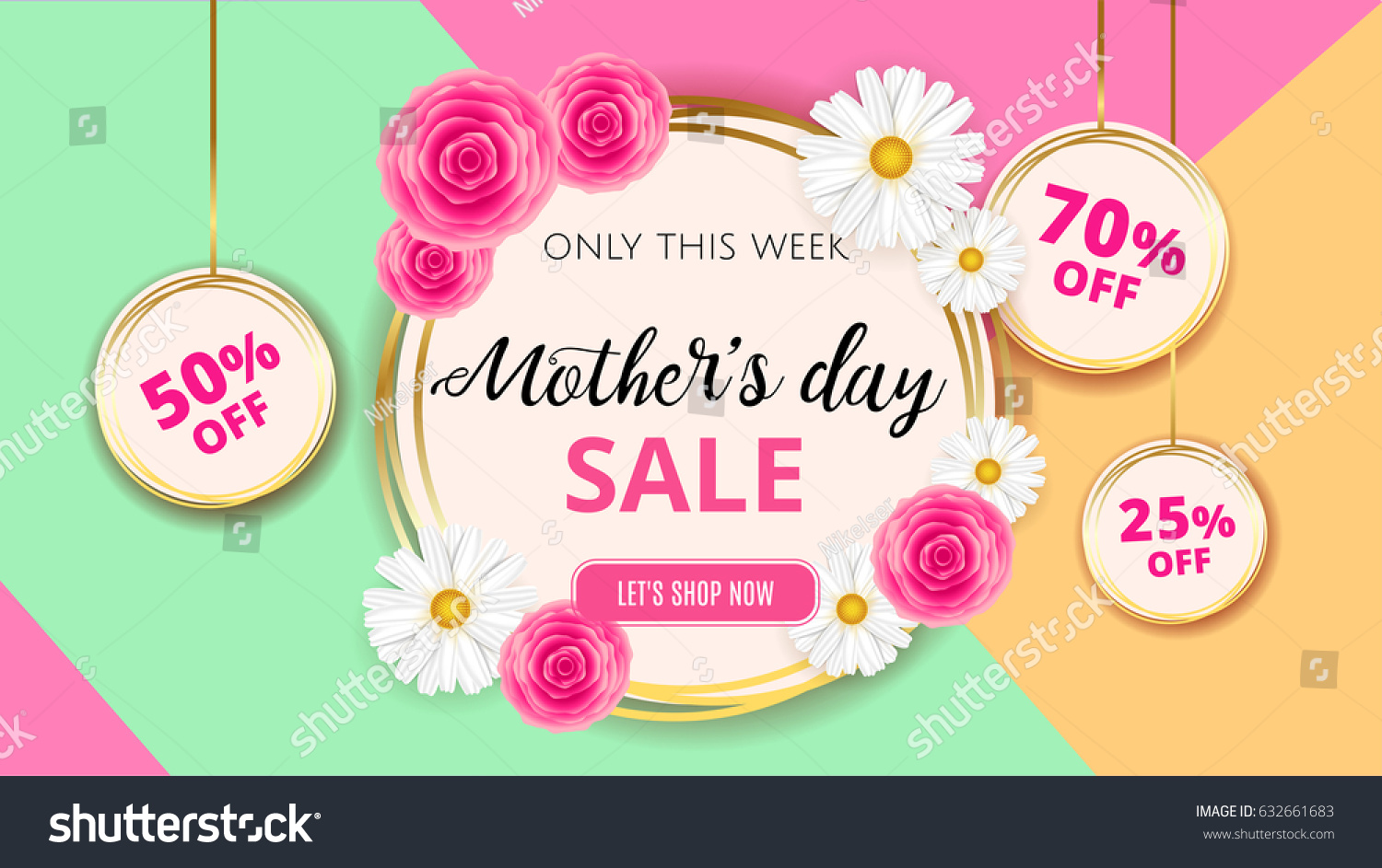 mothers day sale background template flowers のベクター画像素材
