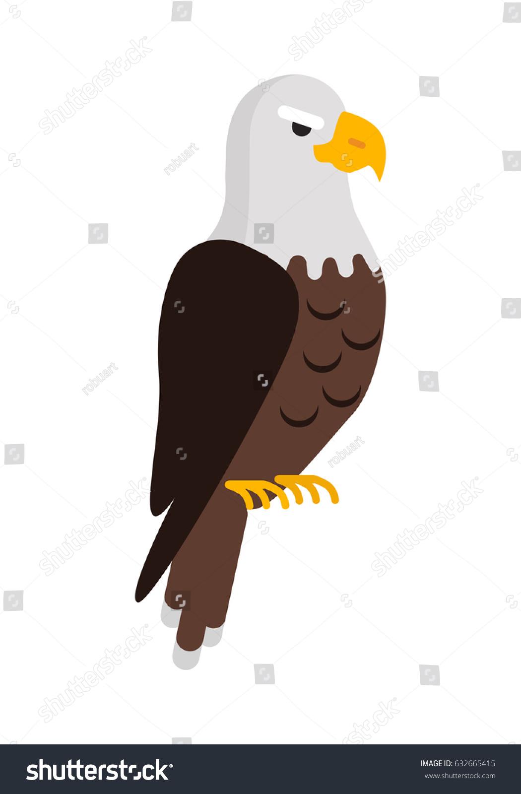 eagle large bird prey cartoon isolated stock vector 632665415