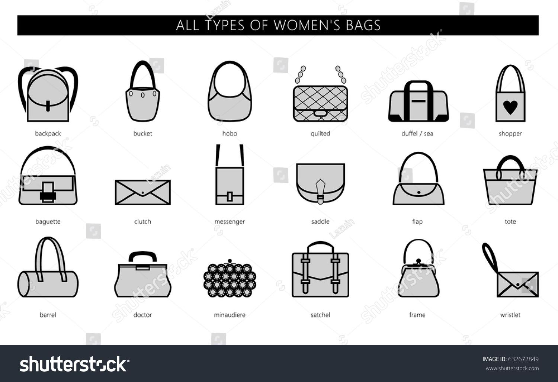 all types womens bags ranging elegant のベクター画像素材