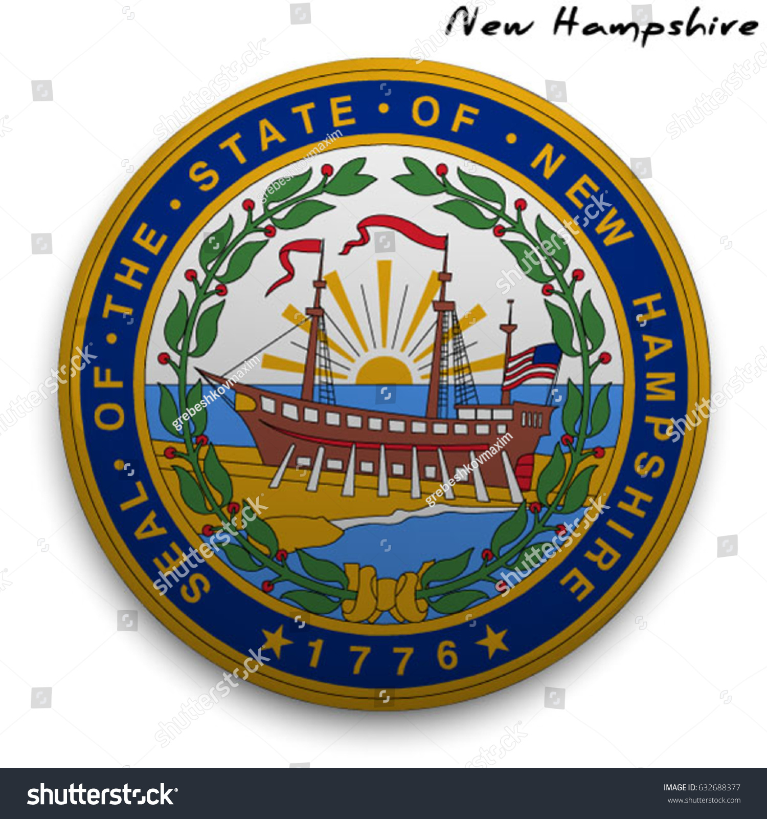 Great Seal Usa State New Hampshire Stock Vector Royalty Free