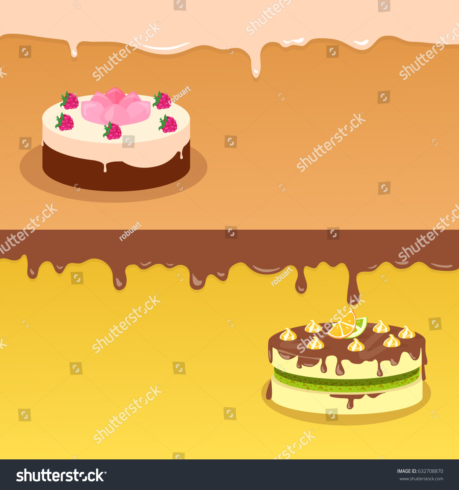 Delicious And Excellent Cake Banners Fruit Cakes Covered Glaze Chocolate Cream Flat Illustration