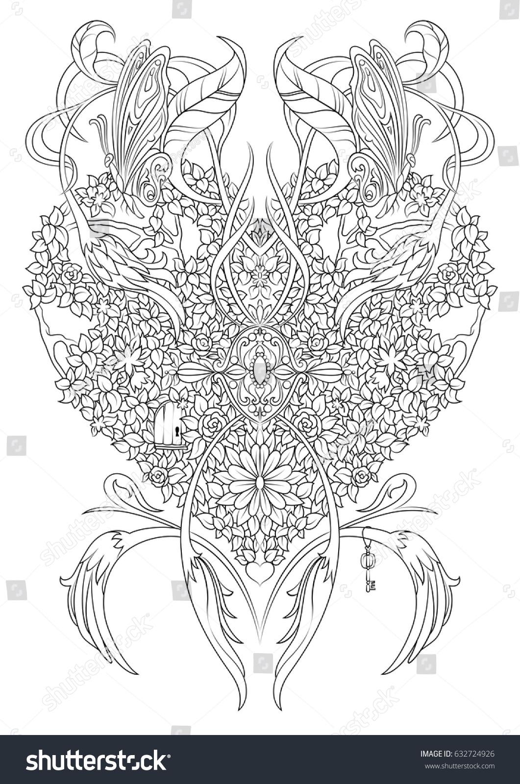 coloring page fantasy heart made shrubs stock vector 632724926