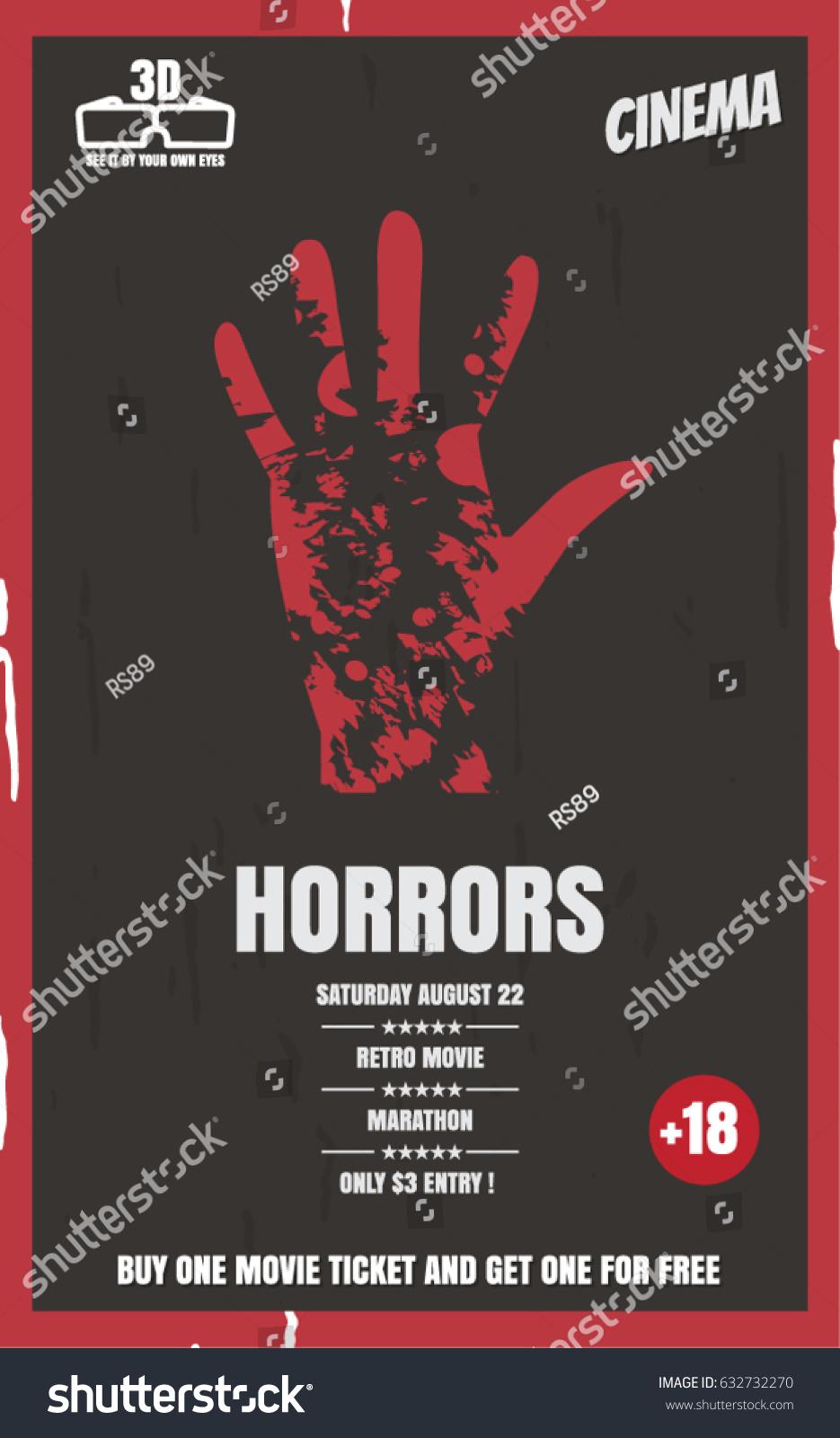 Bloody Handprint Vector Illustration Poster Movie Stock Vector Royalty Free 632732270