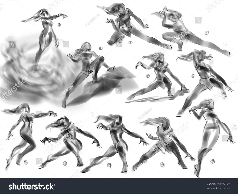 digital illustration female girl woman various stock illustration