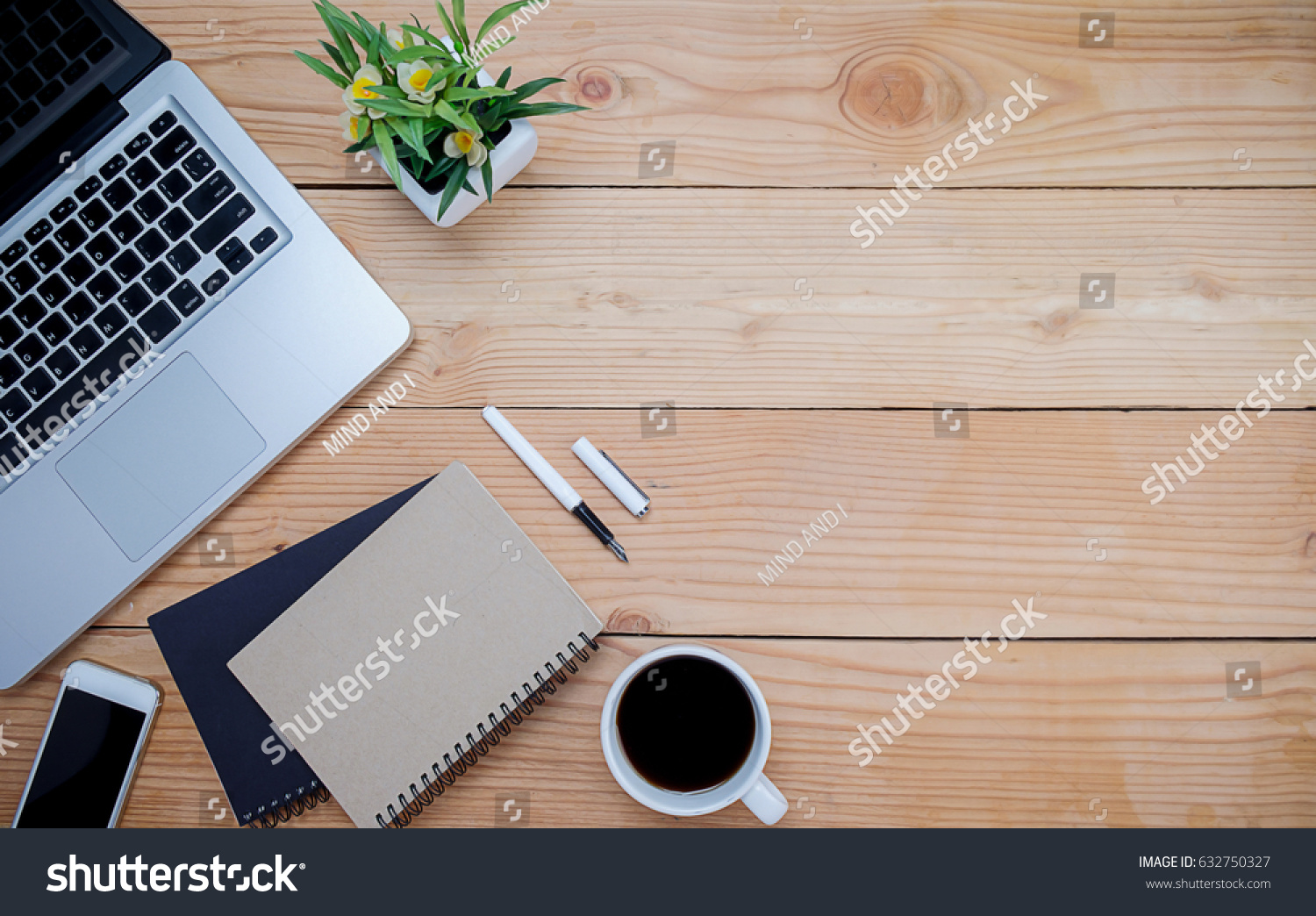 top office table cup. Office Desk Table With Pen, Keyboard On Notebook, Cup Of Coffee And Flower. Top N
