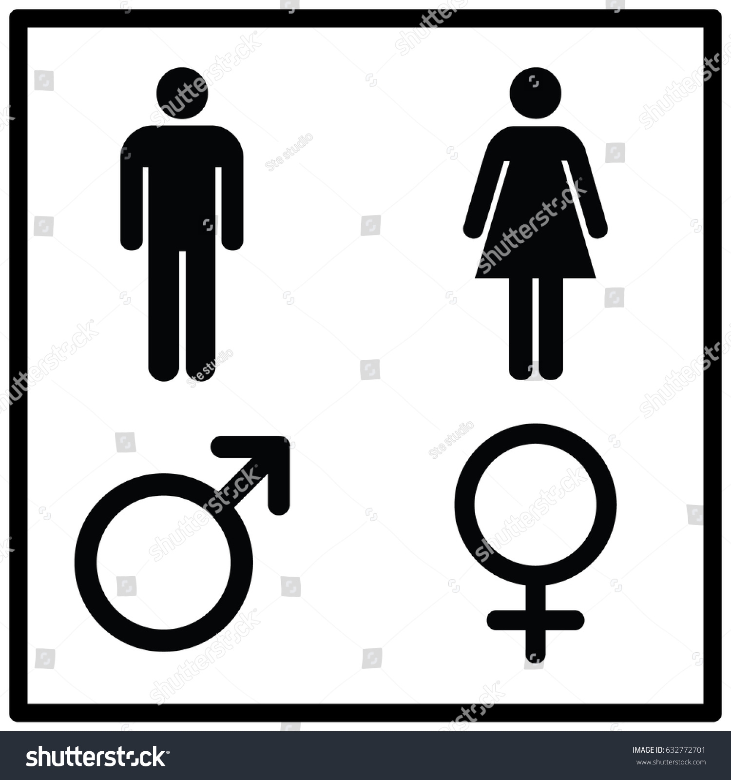 Restroom sign male female stock vector 632772701 for Male female bathroom sign images