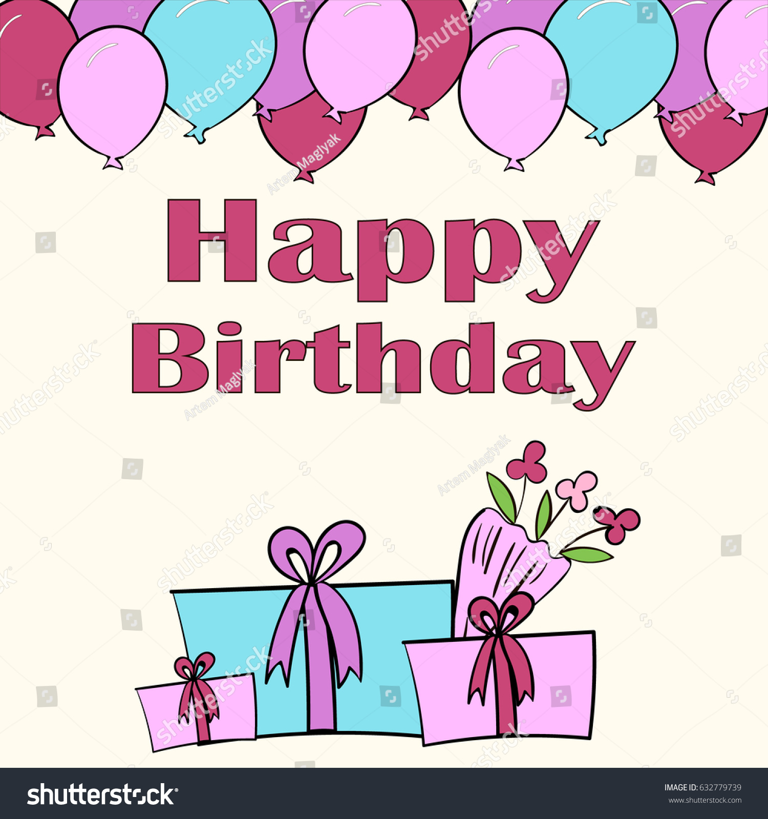 Birthday Card Greeting Card Happy Birthday Stock Vector Royalty