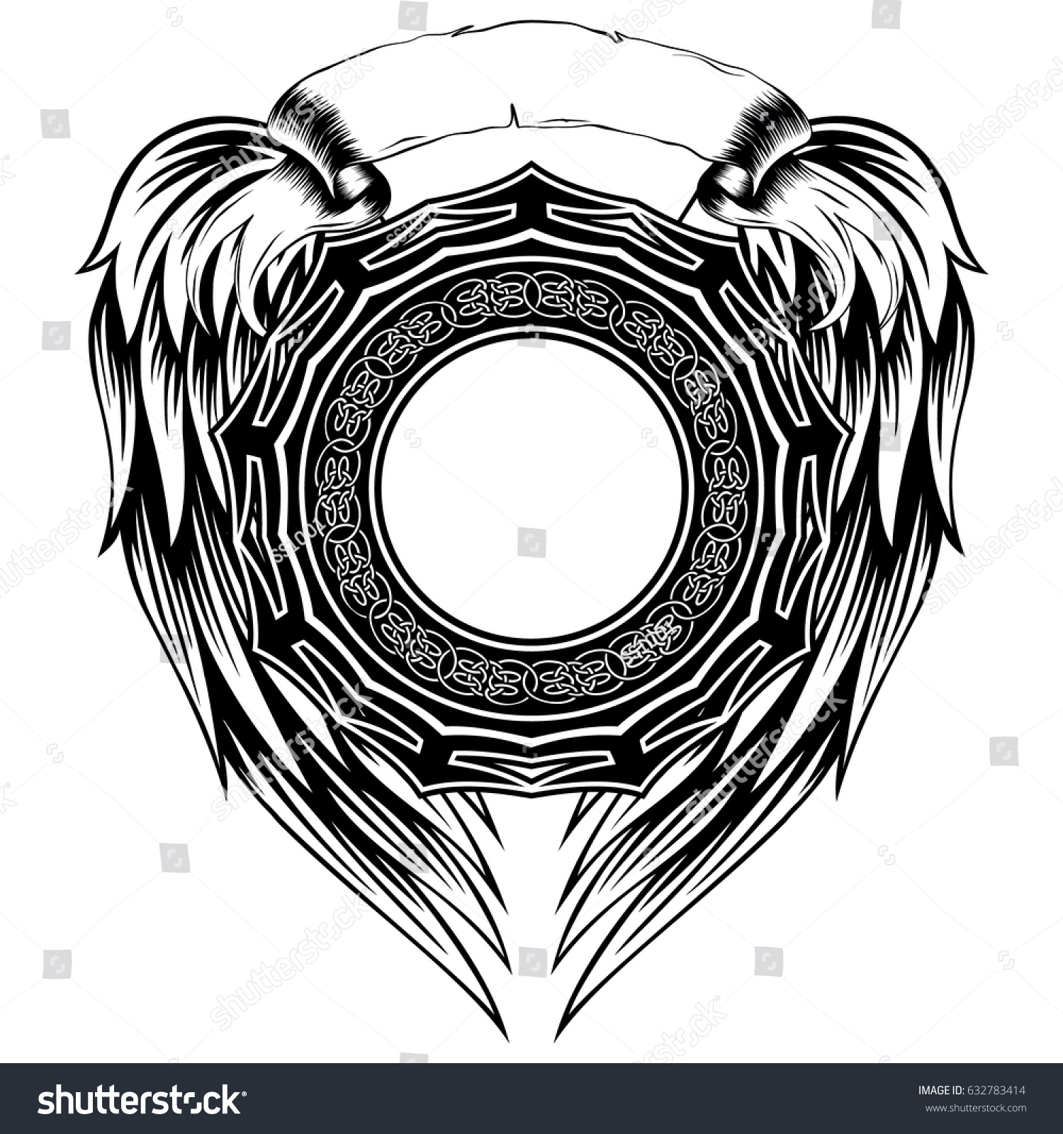 Abstract Vector Black White Illustration Round Stock Vector