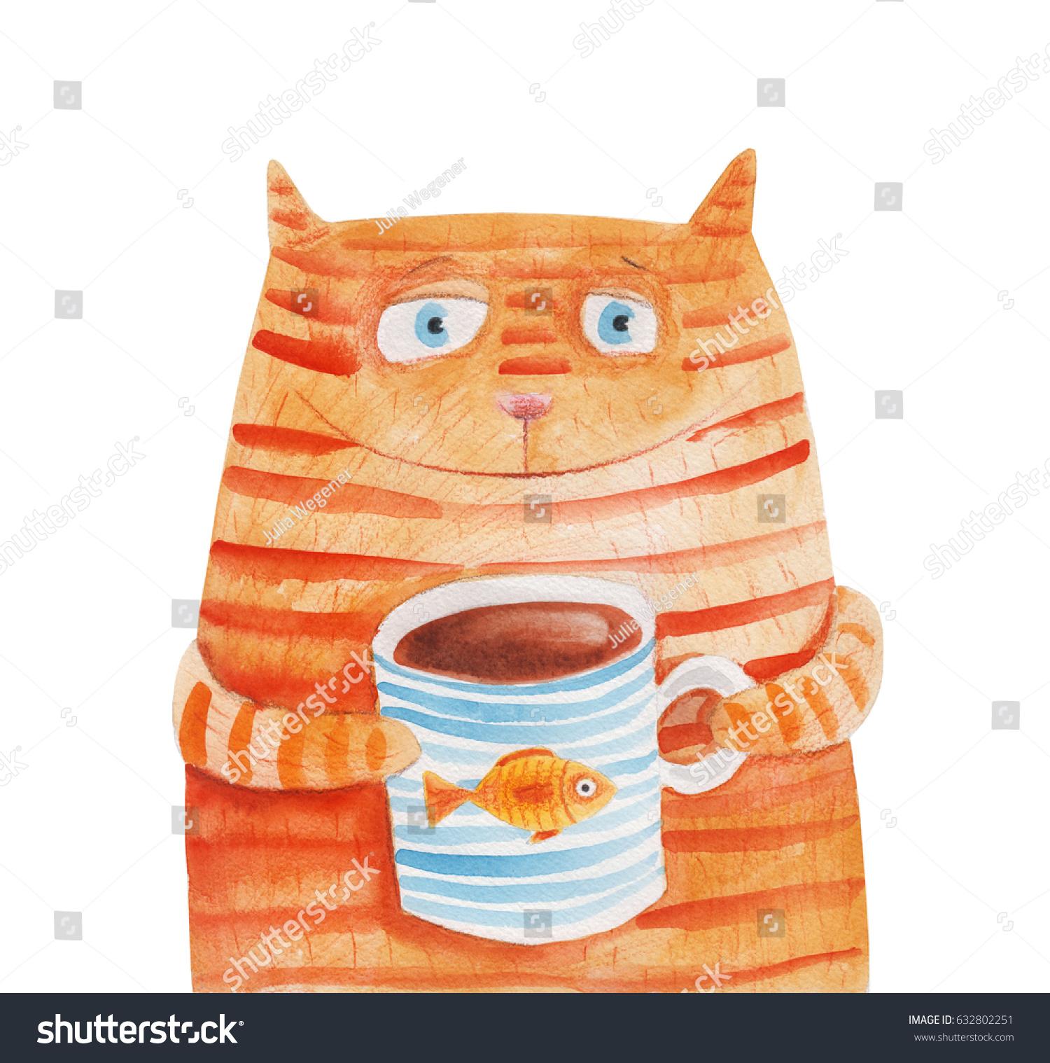Striped Cat Mug Fish Watercolor Illustration Stock Illustration 632802251