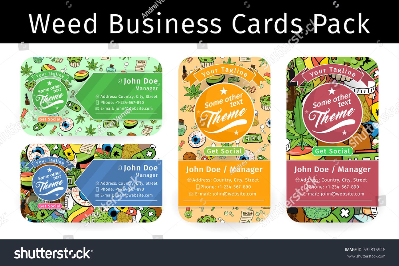 Medicinal Cannabis Recreational Marijuana Business Card Stock Vector ...