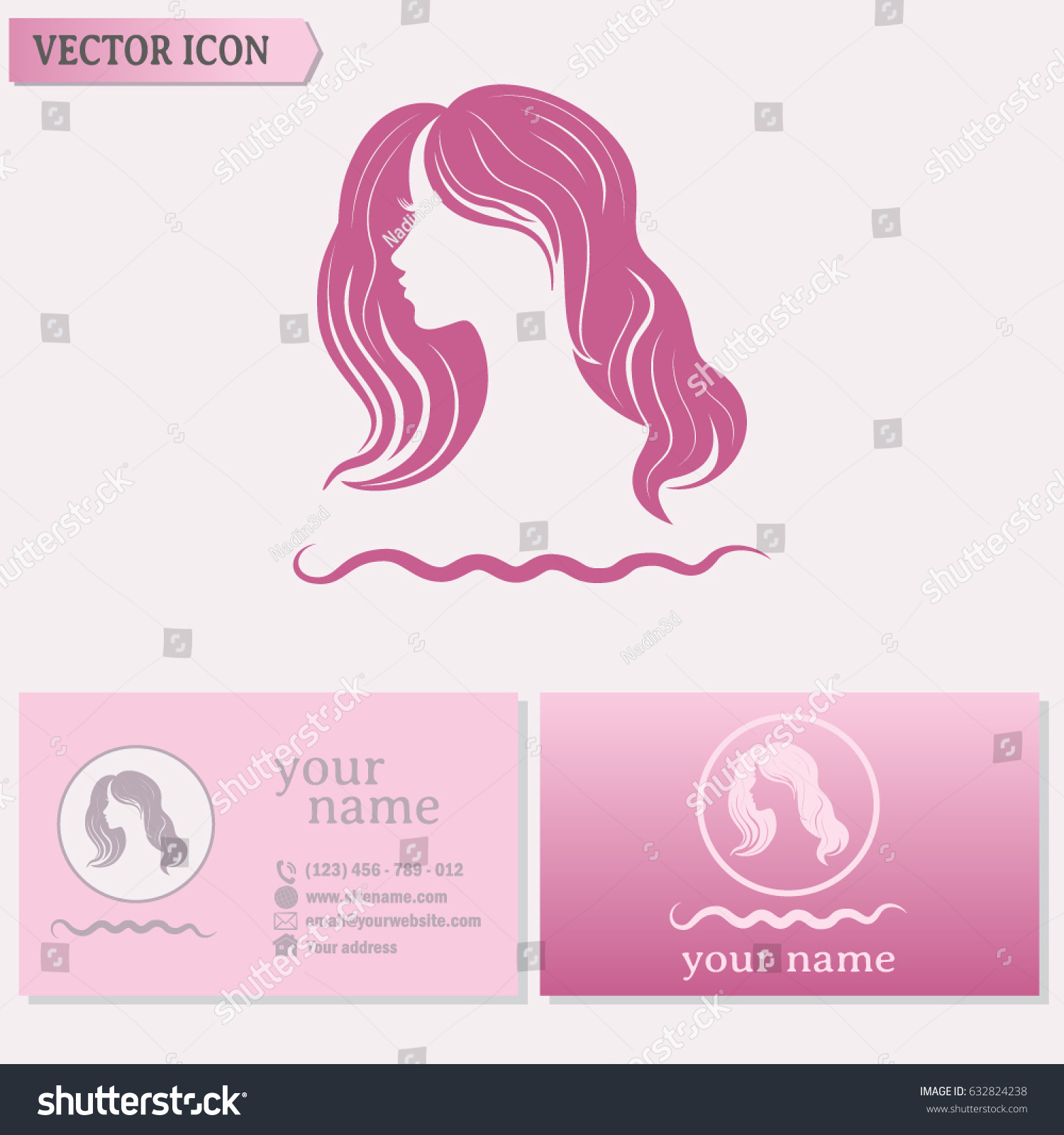 Business Cards Design Beautiful Woman Silhouette Stock Vector ...