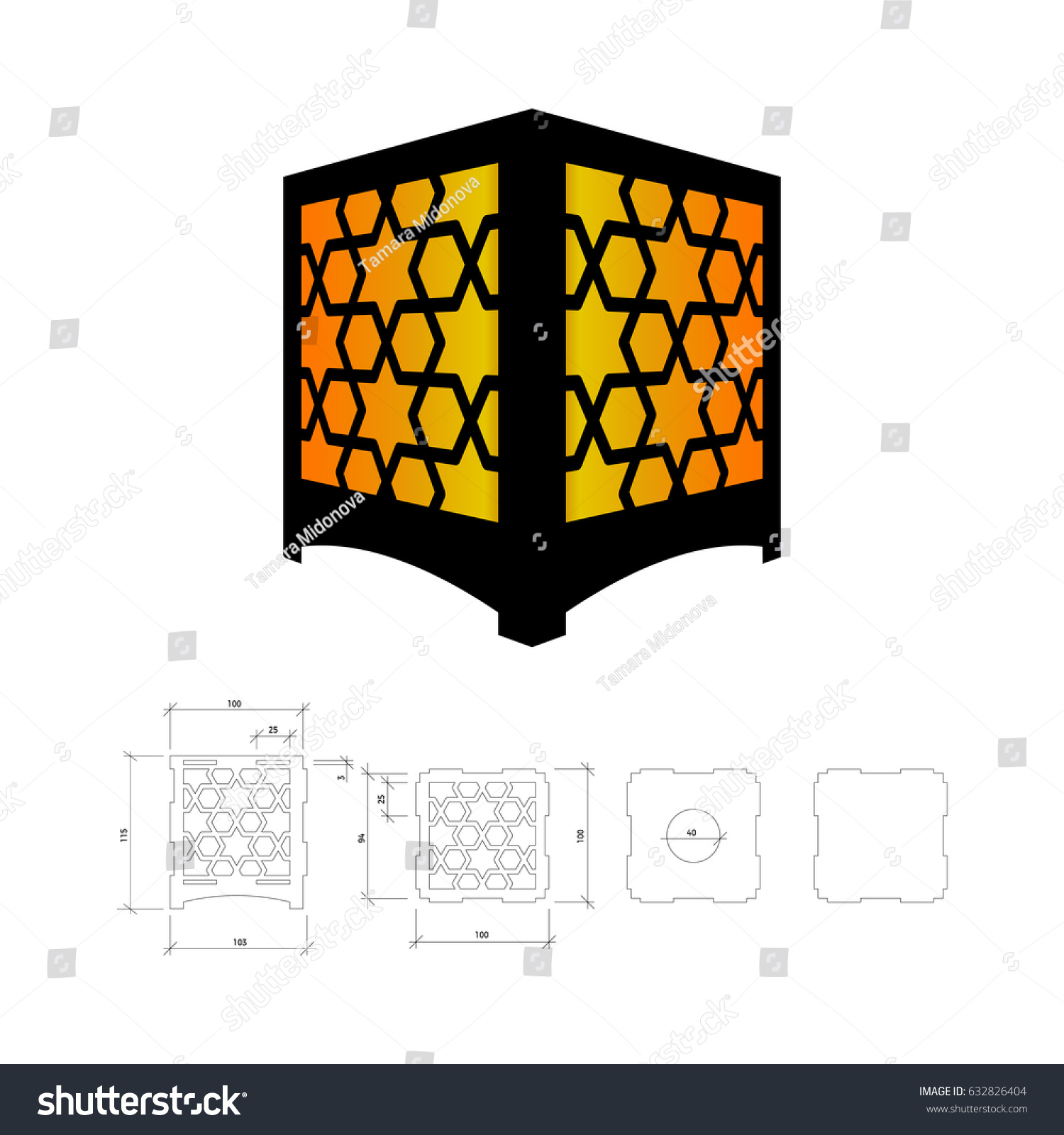 cut out template lamp candle holder stock vector 632826404. Black Bedroom Furniture Sets. Home Design Ideas