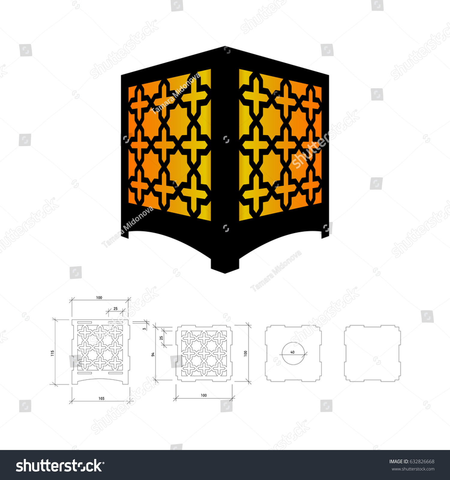 Cut out template lamp candle holder stock vector 632826668 cut out template for lamp candle holder lantern or chandelier plywood 3 mm arubaitofo Image collections