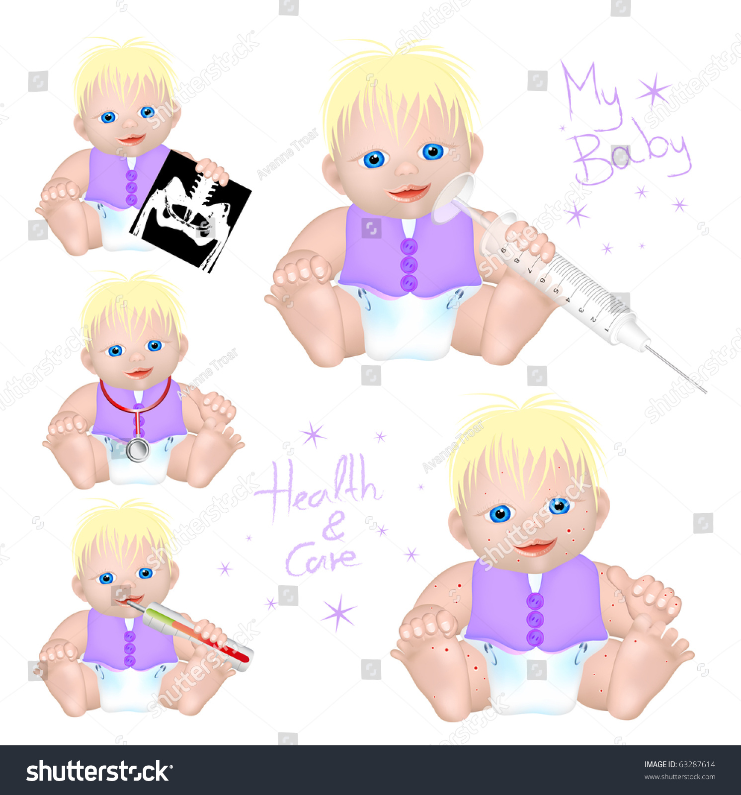 Baby Different Symbols Health Care Stock Illustration 63287614