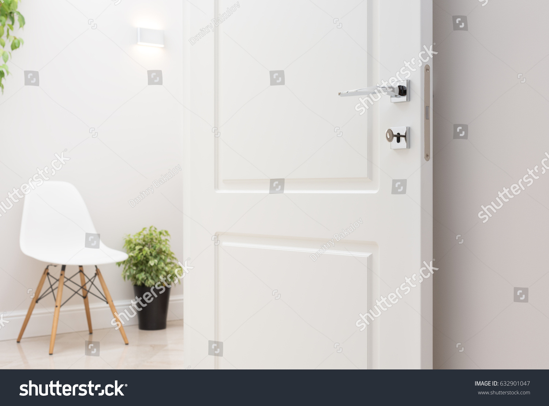 Open White Interior Doors Modern Chrome Stock Photo Edit Now