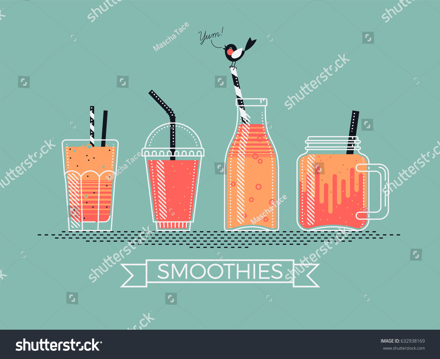 Glass juice cups design - Cool Detailed Vector Illustration On Various Filled Smoothie Jars Cups Bottles And Glasses With