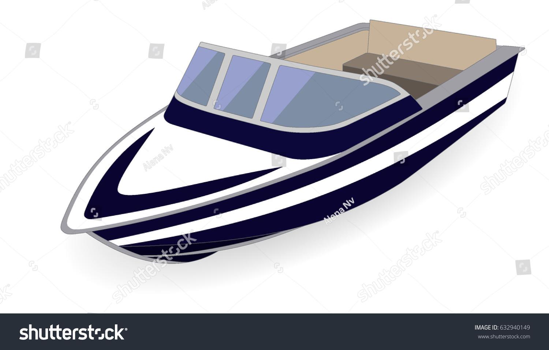 Cartoon Outboard Motors : Cartoon motor boat isolated on white stock vector