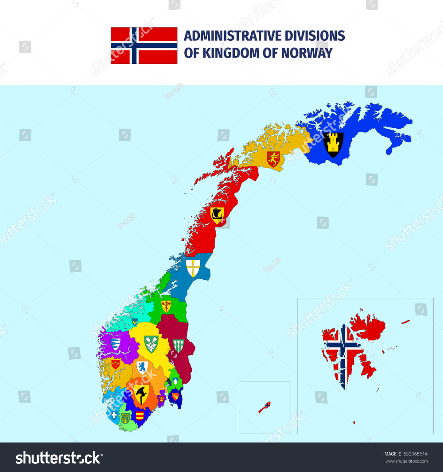 Administrative Divisions Norway Stock Vector 632965616 Shutterstock