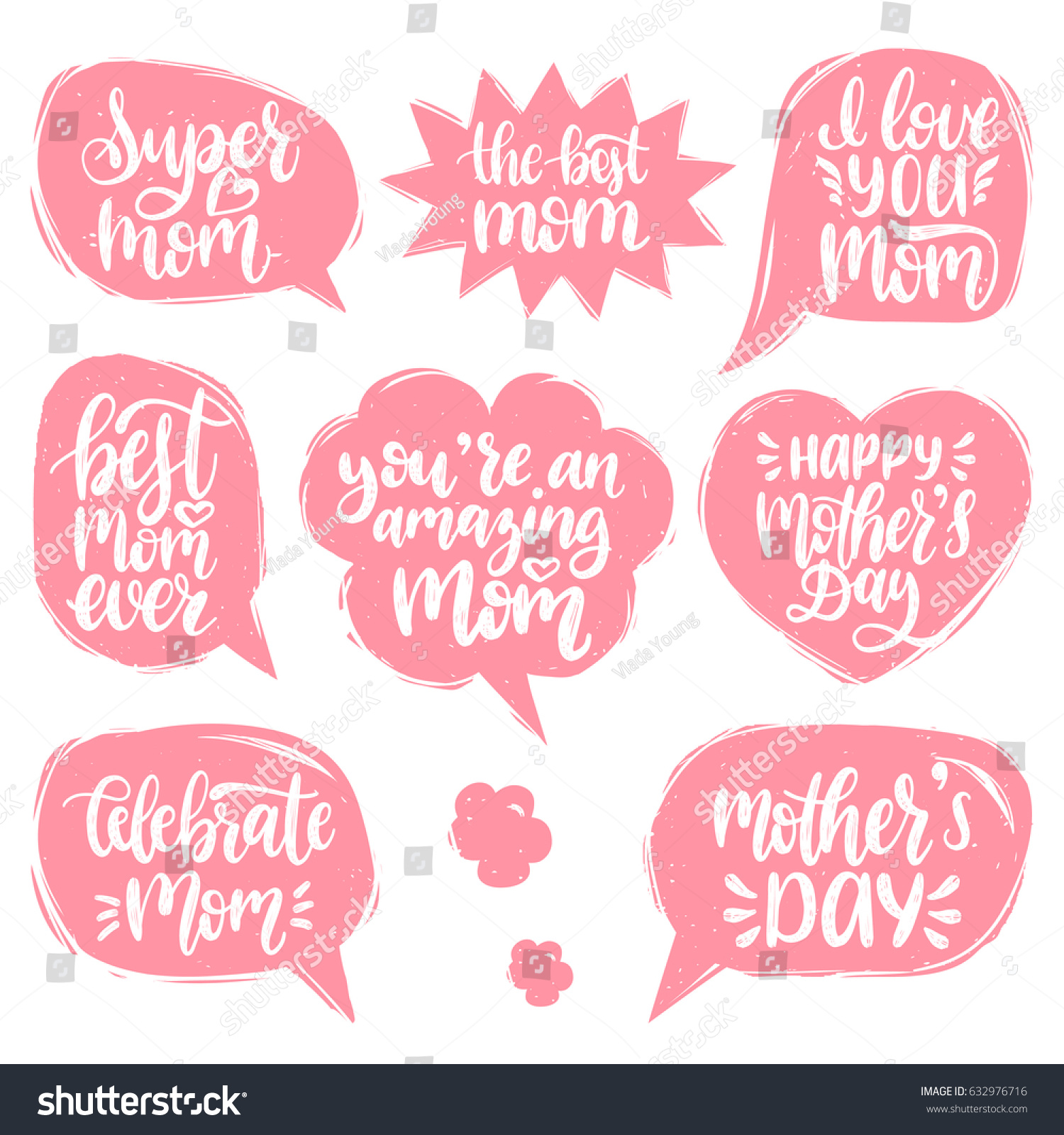 Vector set mothers day hand lettering stock vector 632976716 vector set of mothers day hand lettering in speech bubbles for greeting cards posters kristyandbryce Choice Image