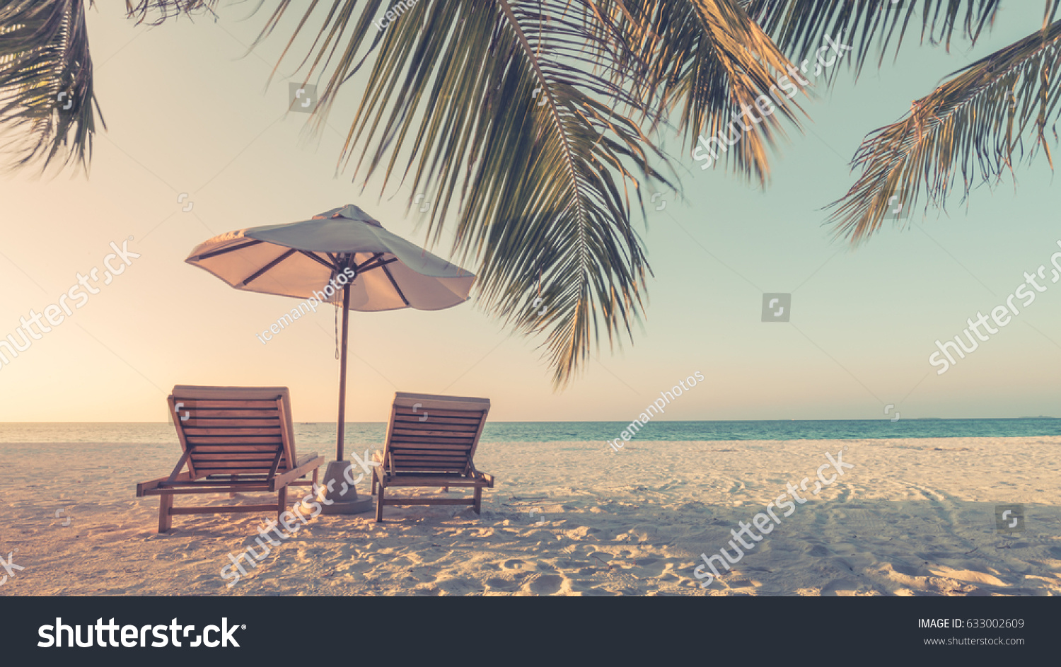 Beautiful beach. Summer holiday and vacation concept background. Inspirational tropical landscape design. Tourism and travel design #633002609