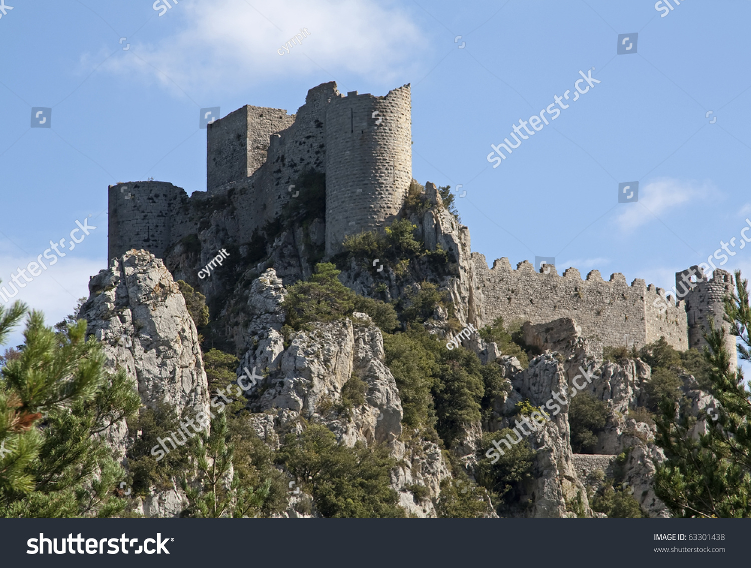Chateau Puilaurens One Cathar Castles Midi Stock Photo Edit Now ...