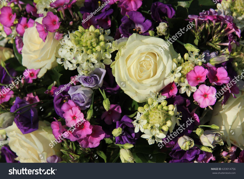 Purple And White Wedding Flower Arrangement Ez Canvas