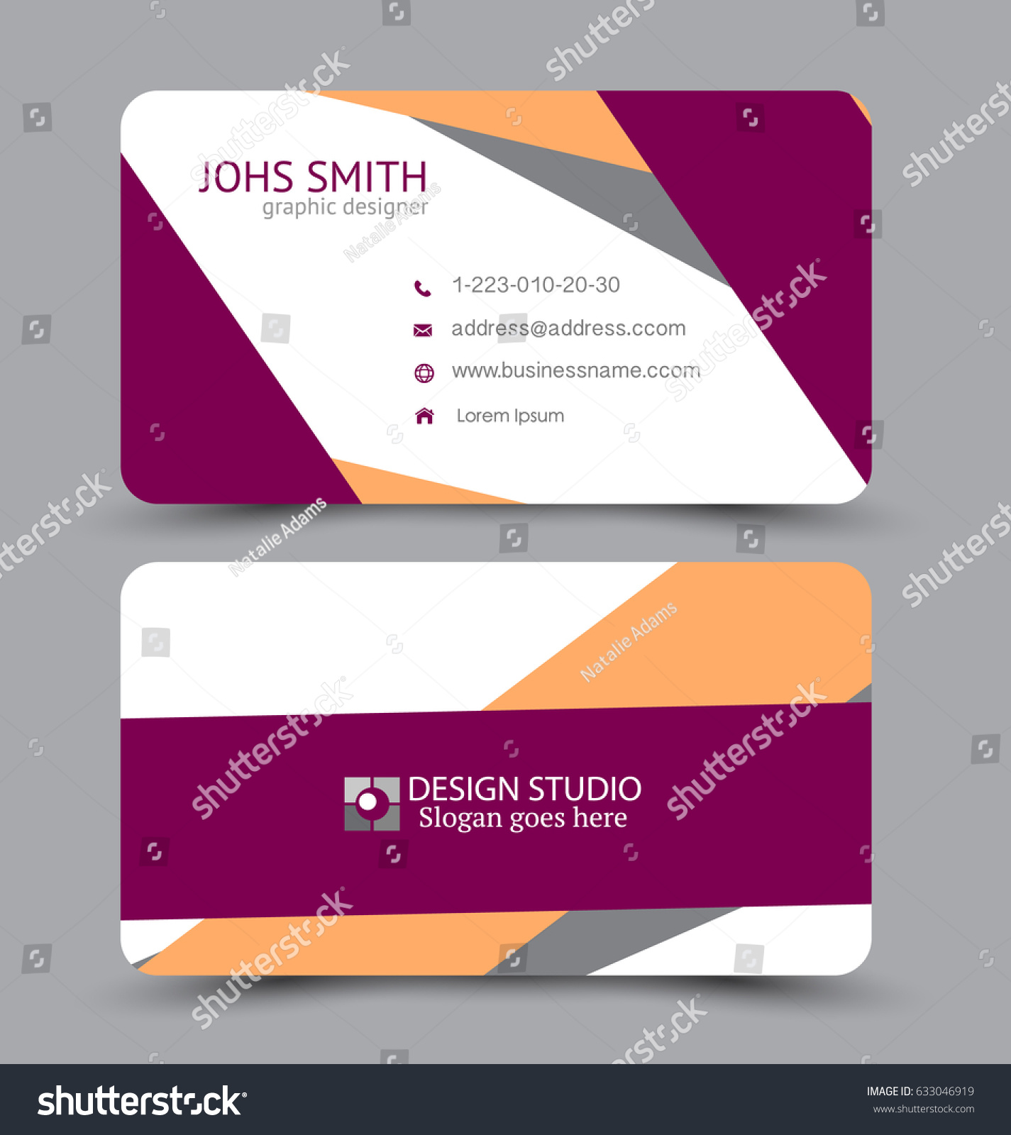 Business Card Design Set Template Company Stock Vector 633046919 ...