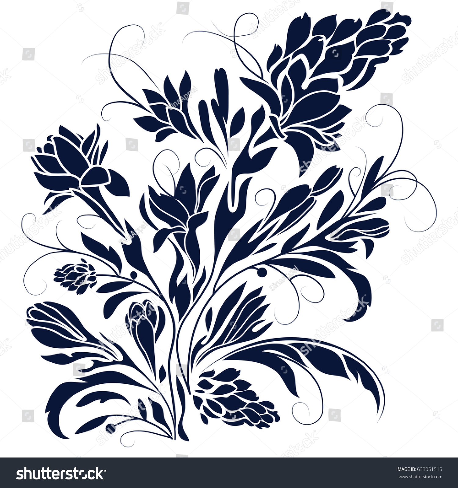 Black Flowers Silhouette On White Background Stock Vector Royalty