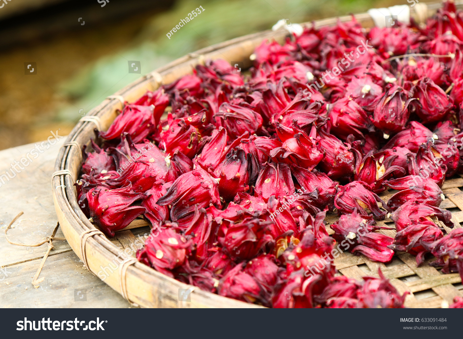 Dried Hibiscus Flowers Basket Weave Stock Photo Edit Now 633091484