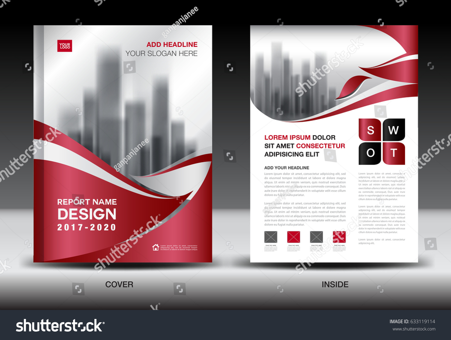 Business Brochure Flyer Template Red Cover Stock Illustration