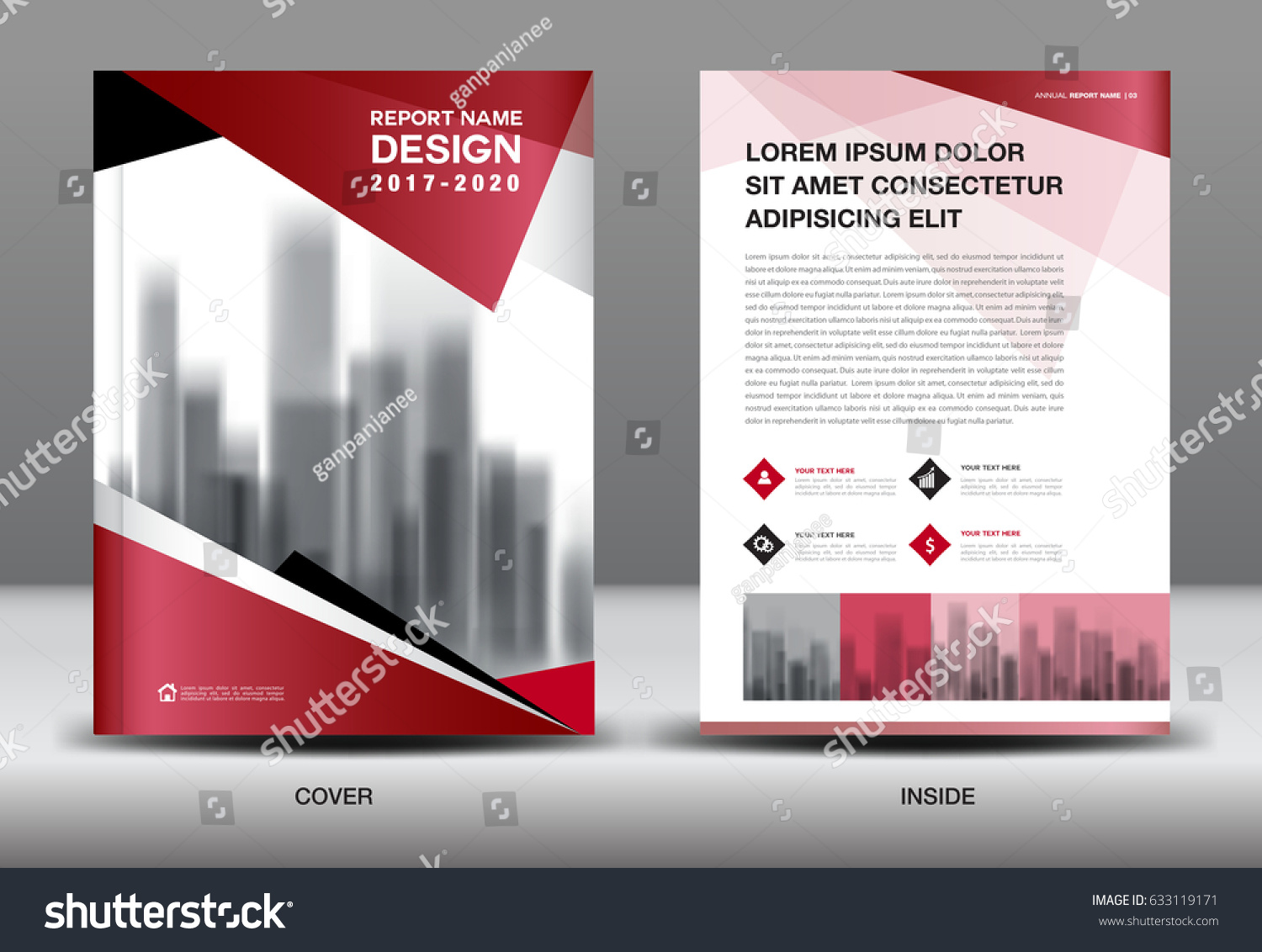 Business Brochure Flyer Template Red Cover Stock Vector - Mini brochure template