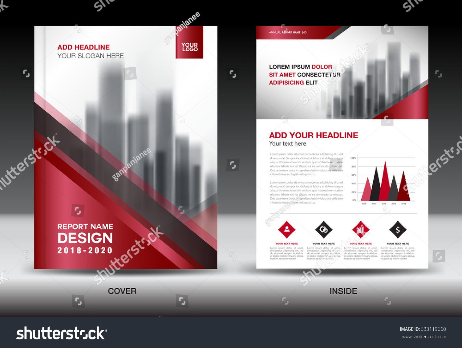 Business Brochure Flyer Templater Red Cover Stock Vector HD (Royalty ...