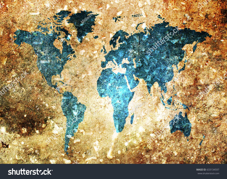 Grunge world map background stock photo royalty free 633134597 grunge world map background gumiabroncs Gallery