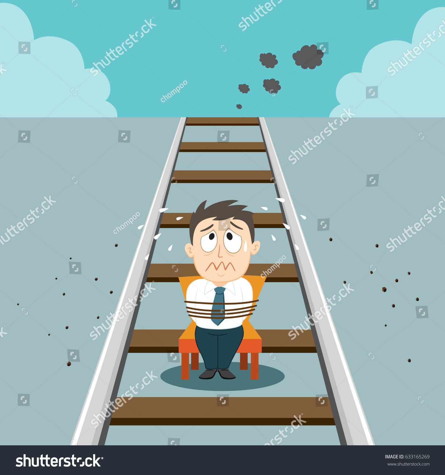Gagged Animation businessman tied chair gagged on railroad stock image