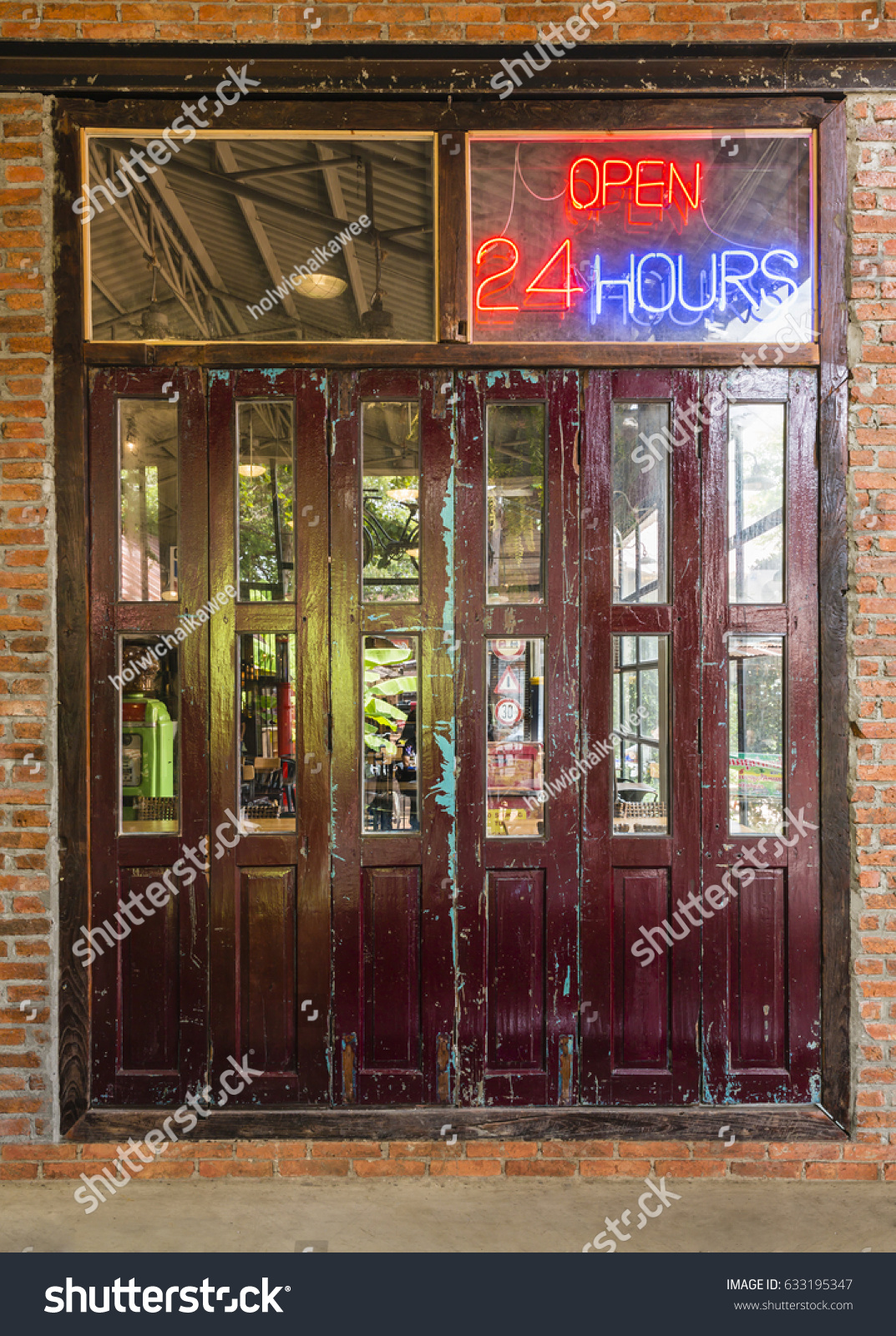 open 24 hours sign on the old crimson door with brick wall and cement floor in & Open 24 Hours Sign On Old Stock Photo 633195347 - Shutterstock