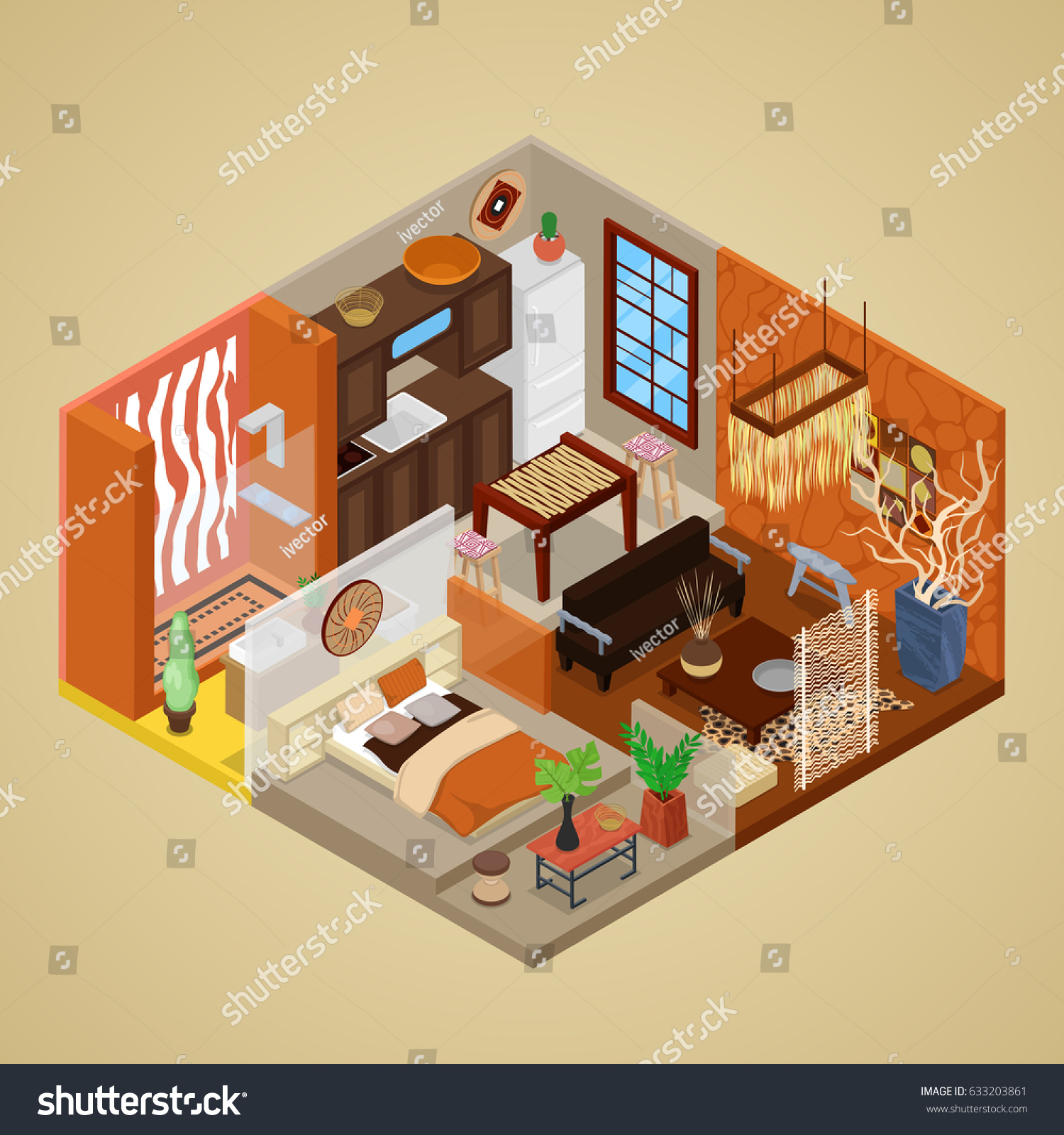 African Style Interior Design Living Room Stock Vector - African style interior design