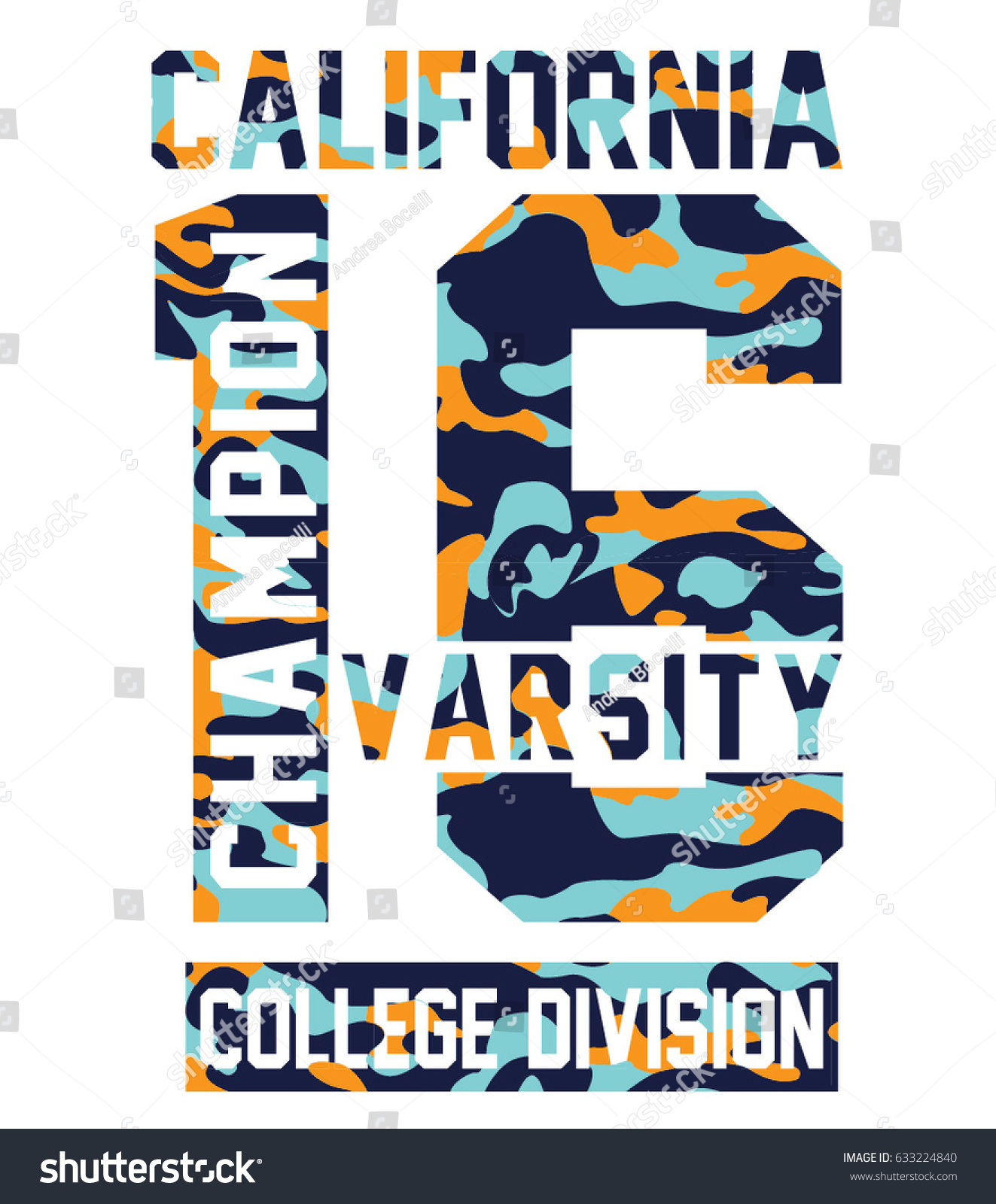 California Beach Typography Graphics Tshirt Printing Stock Vector