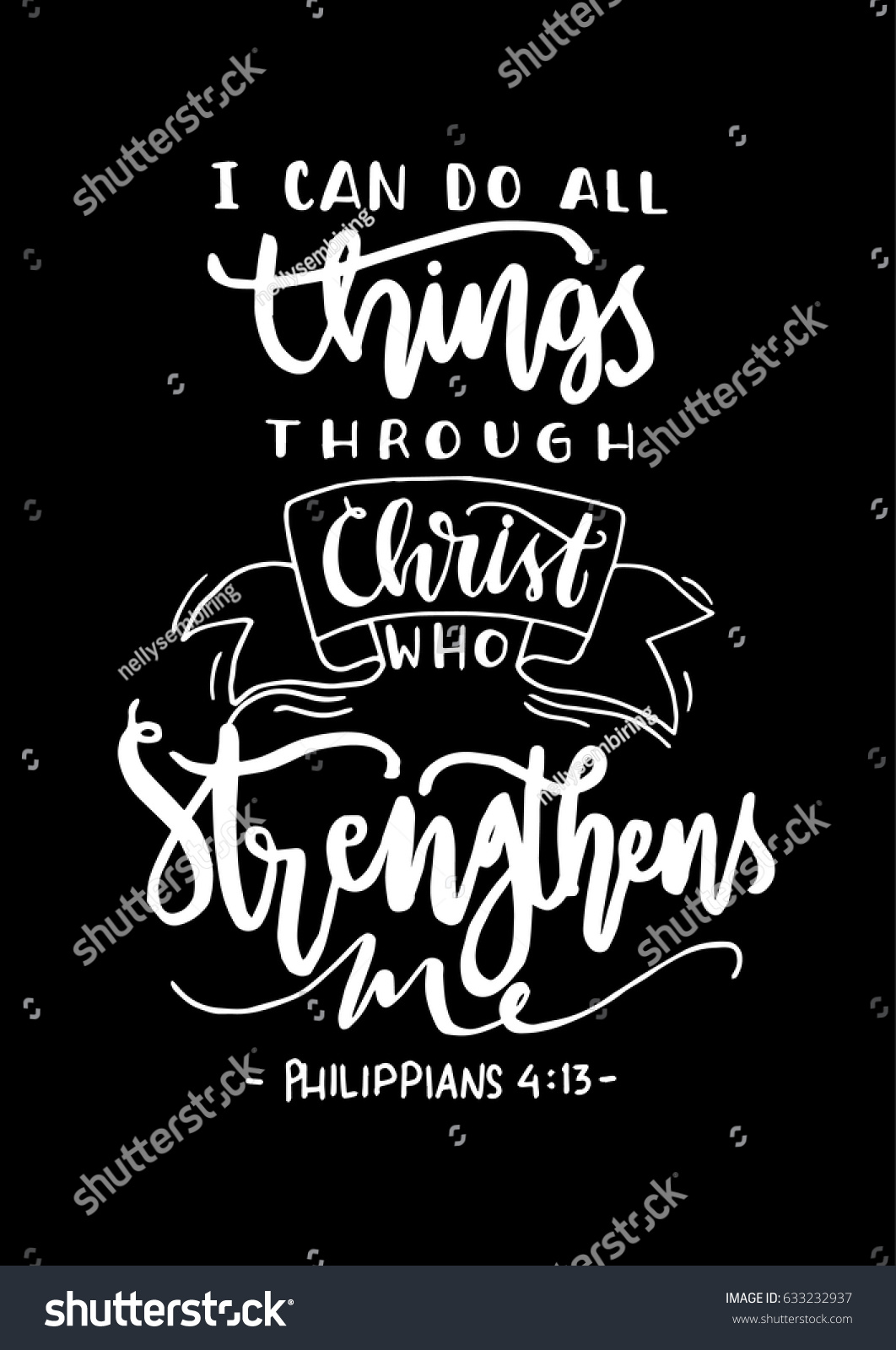 can do all things through christ stock vector   shutterstock - i can do all things through christ who strengthens me on black backgroundbible quote