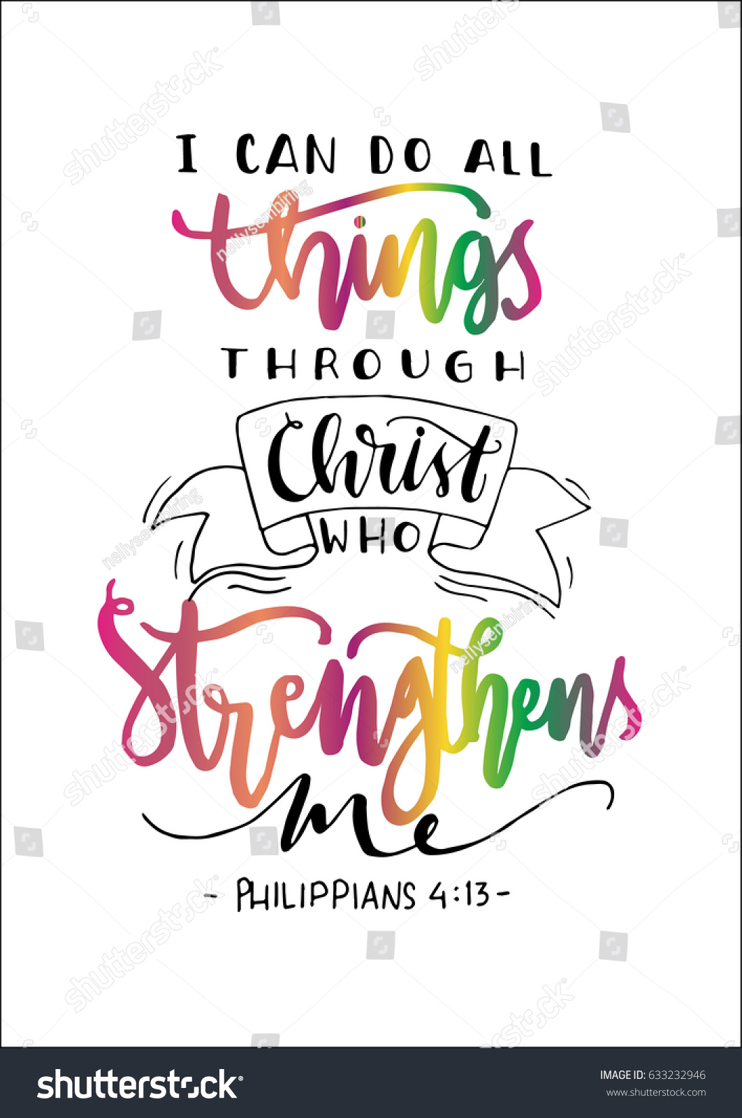 can do all things through christ stock vector 633232946