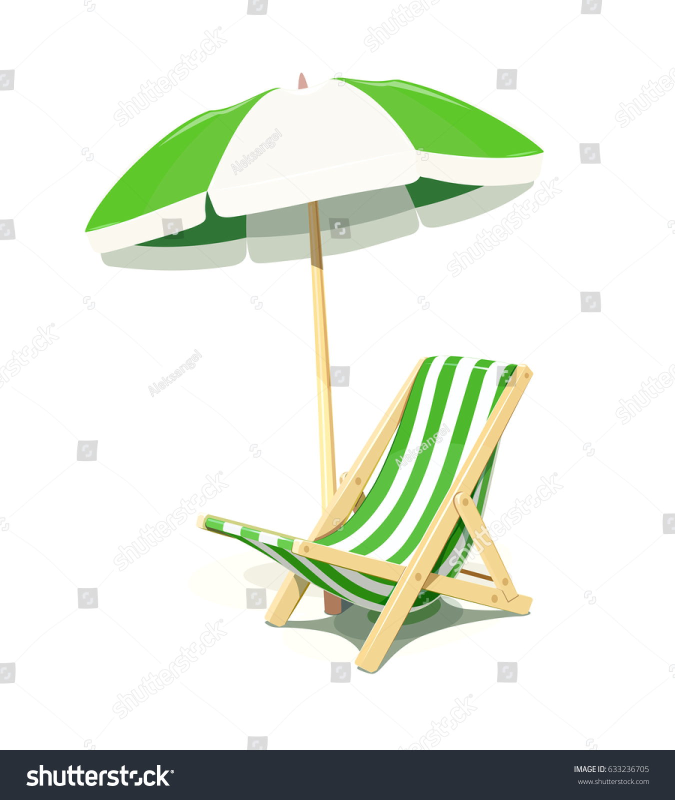 Beach Chair Umbrella Summer Rest Isolated Stock Vector