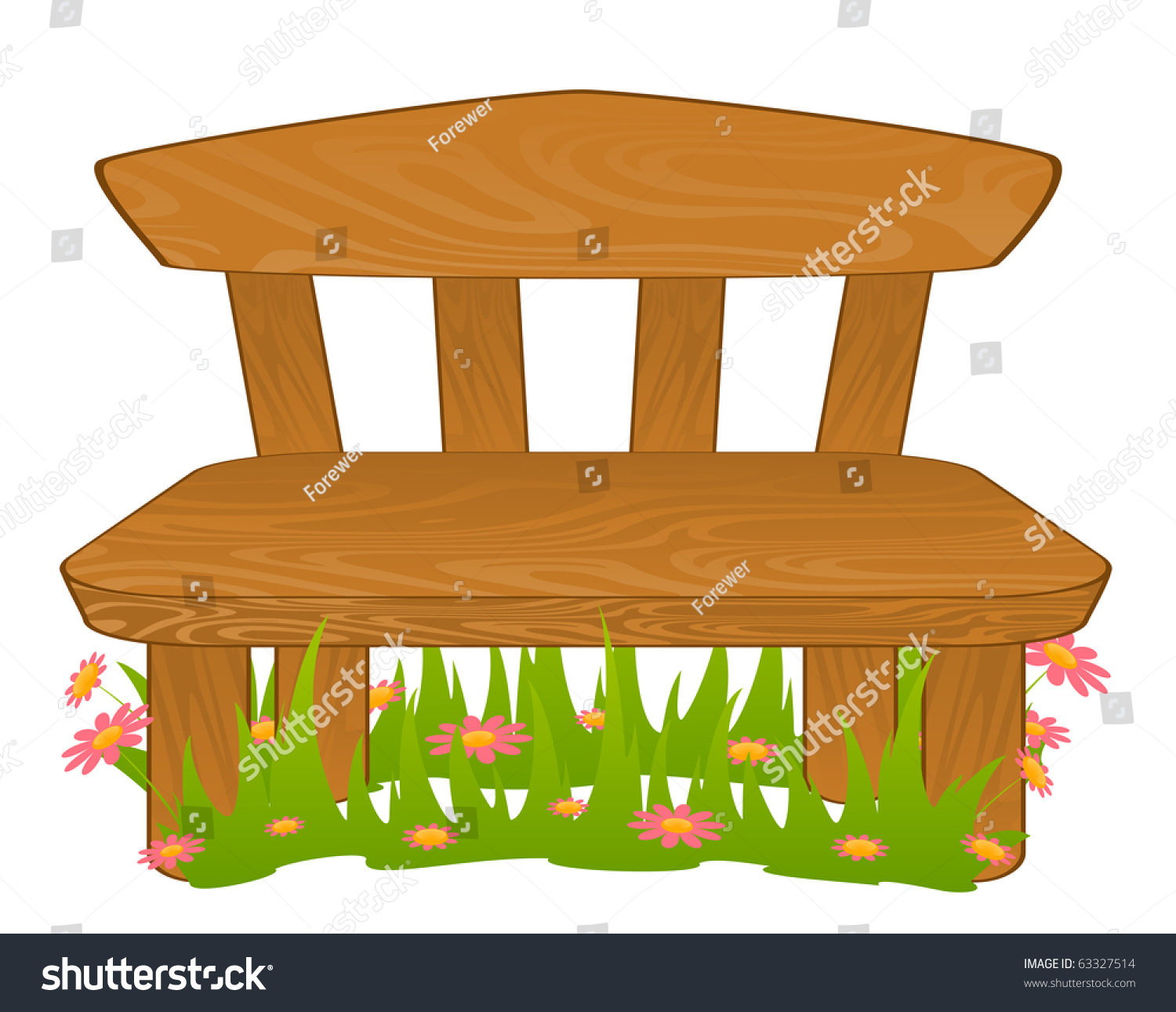 Cartoon Bench Vector Stock Vector 63327514 Shutterstock