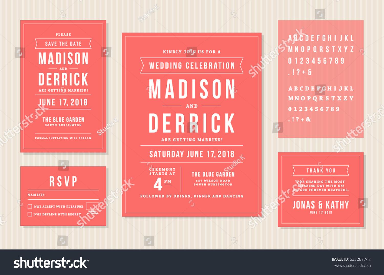 Wedding Invitation Design Set Invitation Card Stock Vector (Royalty ...