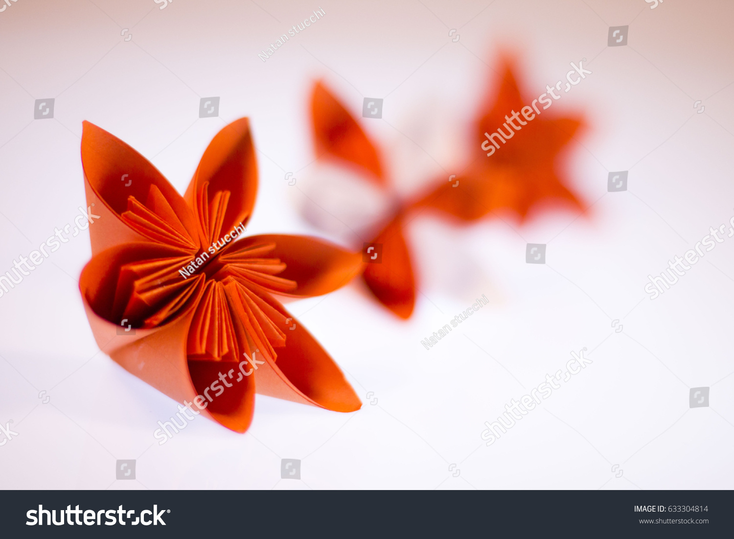 Origami Paper Flowers On White Background Stock Photo Edit Now