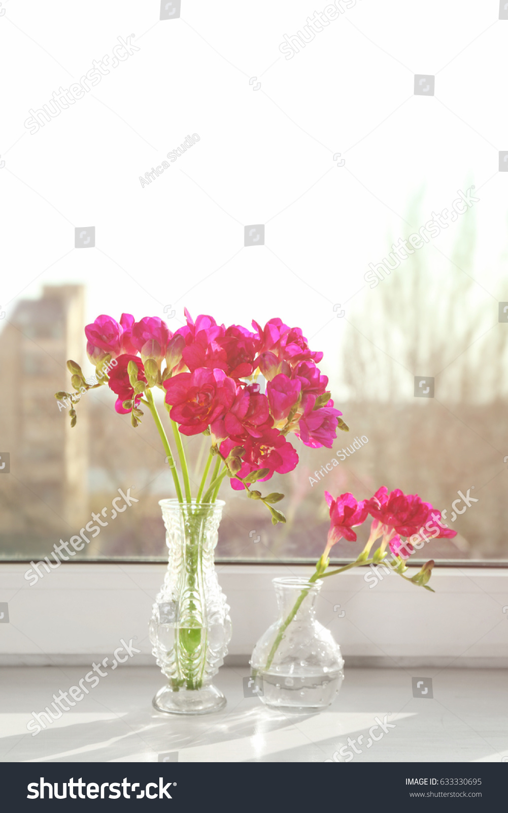 Beautiful flowers bouquet in vase on the wooden tabletulipsroses beautiful flowers bouquet in vase on the wooden tabletulipsroses and eustoma ez canvas izmirmasajfo