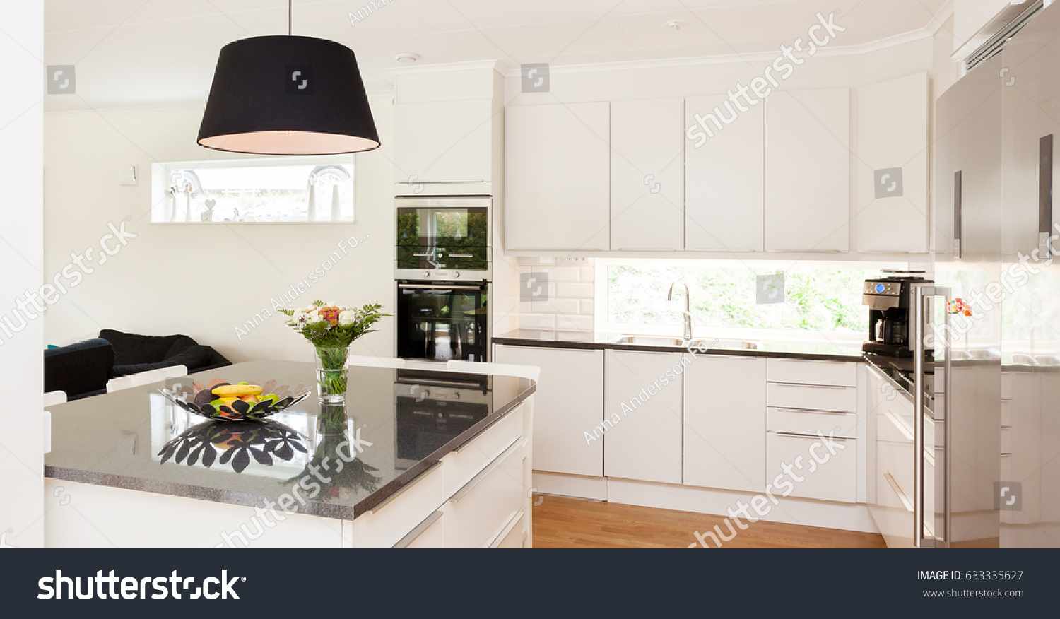 Banner Fancy Kitchen Interior Black Stone Stock Photo Edit Now