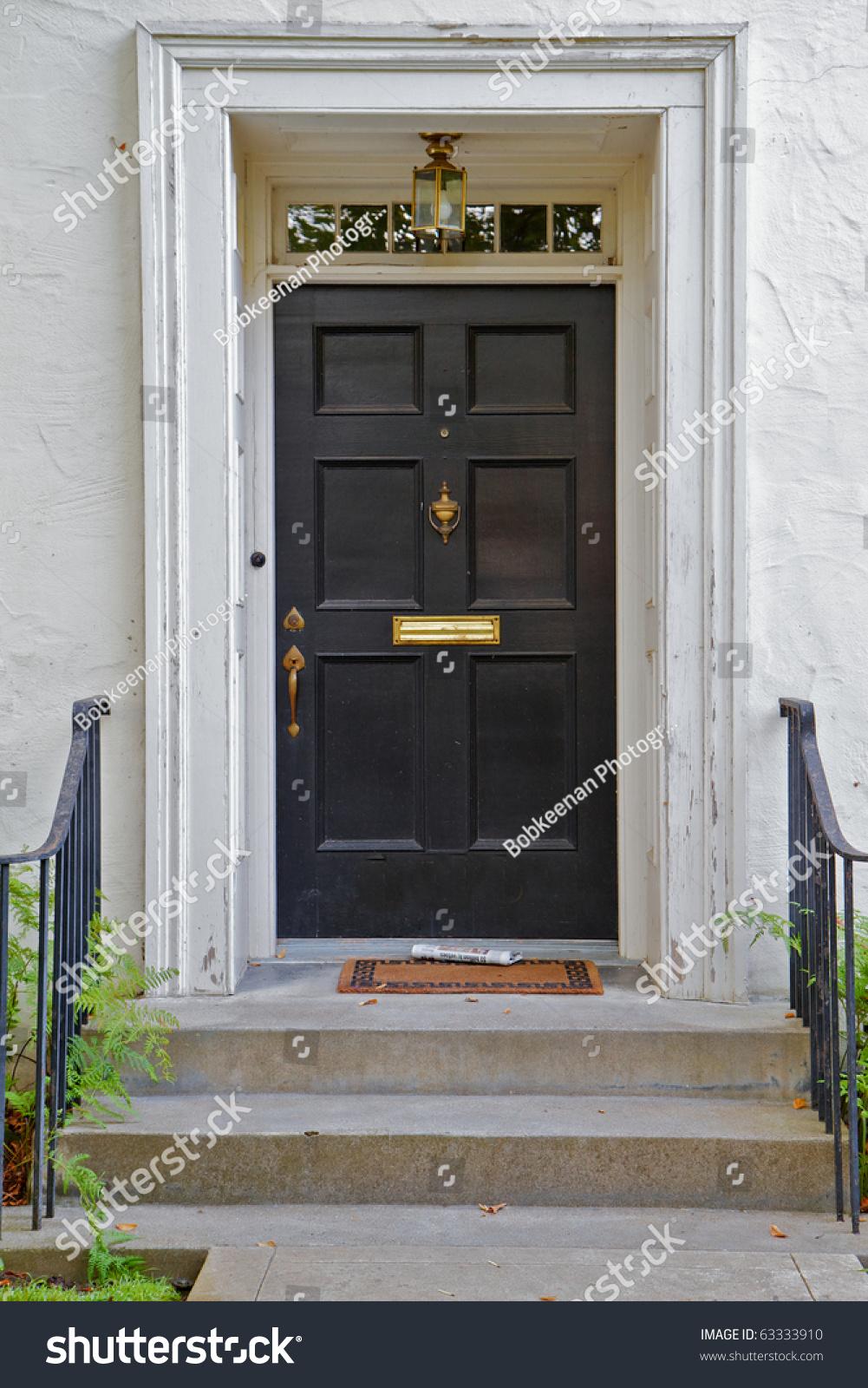 Black Front Door White House Newspaper Stock Photo ...